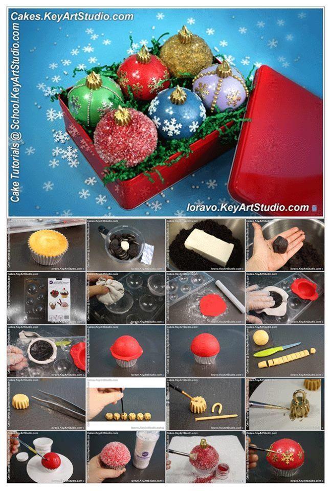 Christmas Ornament Cake Picture Tutorial http://school.keyartstudio.com/cake-decorating-tutorials/tutorial-christmas-ornaments-cupcakes/