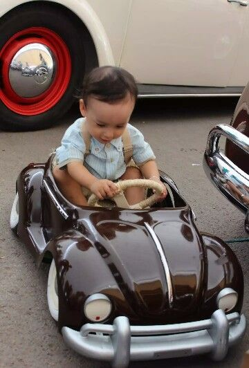 Little one in a convertible VW Beetle Kid size