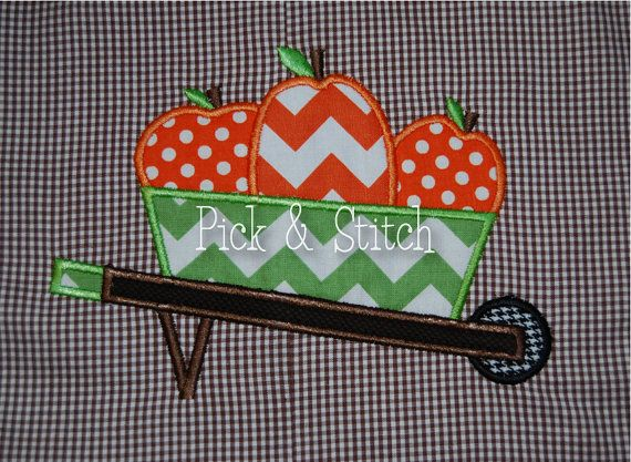 Pumpkin Wheelbarrow Fall Applique Design Machine Embroidery INSTANT DOWNLOAD on Etsy, $4.00