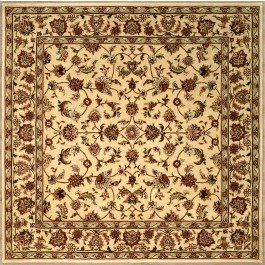 Handmade Square Persian Sultanabad Area Rug In Ivory, 6x6 Area Rugs