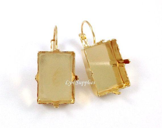 Rettangolo oro passo taglia orecchini impostazioni 1 coppia forma Swarovski Crystal 18x13mm 4527 nichel libero Leverback orecchini Base