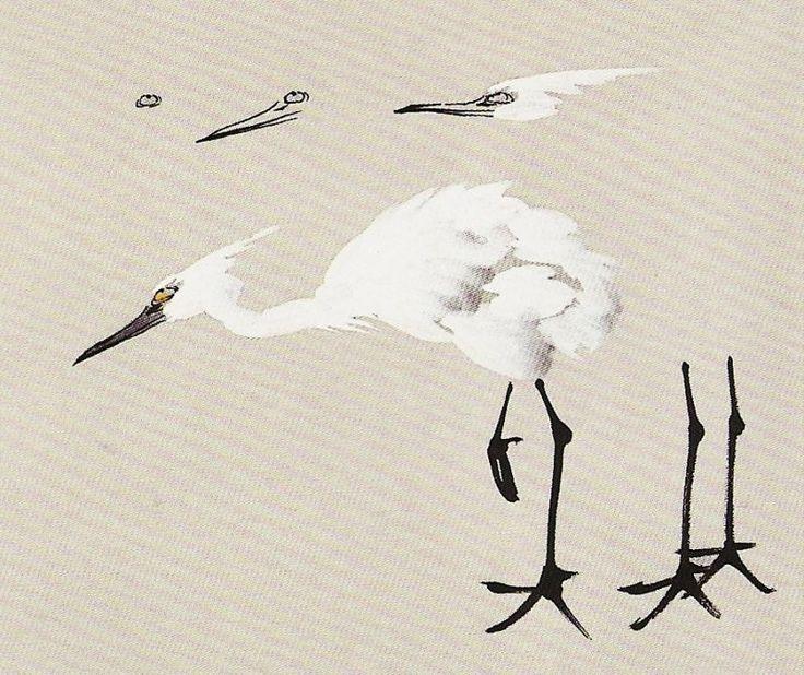 L'aigrette en peinture chinoise xieyi | Peinture chinoise ...