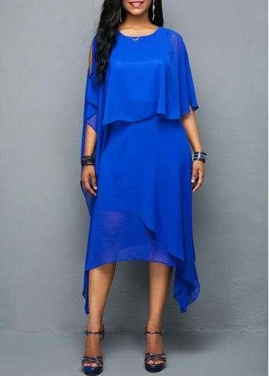 fce27cbb80e0f Chiffon Overlay Royal Blue Round Neck Dress