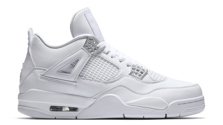 "The all white Jordan 4 returns for 2017 with the release of the Air Jordan 4 Retro ""Pure Money."" The sneaker features a full white leather upper with metallic silver accents and metallic hardware sitting on a matching all white sole. Release date is May 13, 2017 at a retail price of $190."