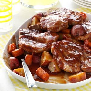 Barbecued Pork Chop Supper Recipe from Taste of Home -- shared by Jacqueline Jones of Round Lake Beach, Illinois