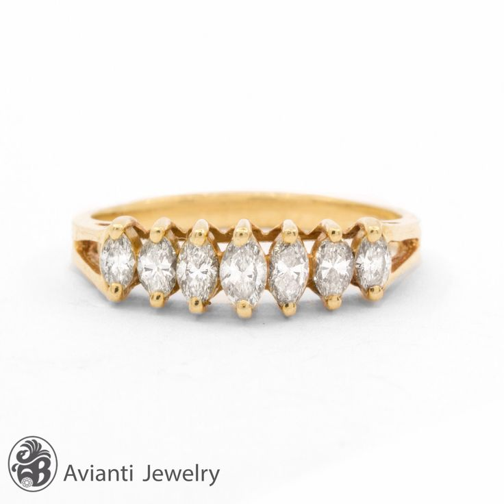 Marquise Cut Diamond Ring, Diamond Anniversary Band, Yellow Gold Diamond .. Like the step sizes of the stones