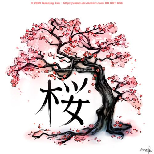 Cherry blossom tattoo - falling petals & Japanese kanji symbol for inner strength