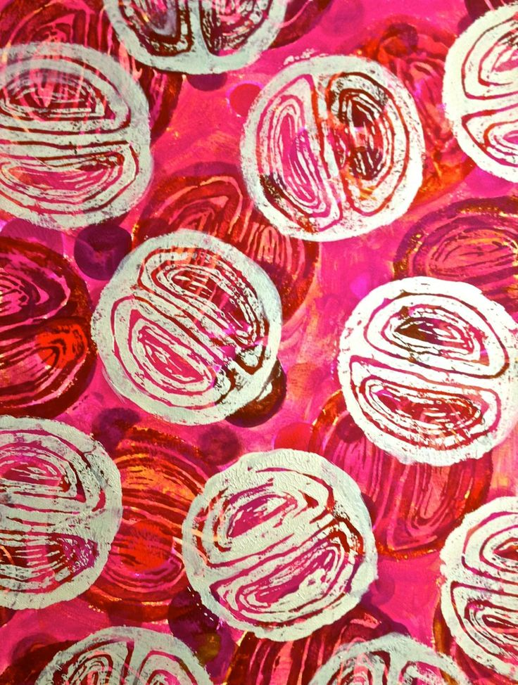 'Burst of pink' 24 x 32 cm  Lino print and Acrylic on Paper $45 for the only one left in this vibrant series of small lino prints.  Frame it yourself with a simple frame for a splash of colour at home or work …. this title refers to the amazing pink fruits and berries one spots hiding in the rainforest of the Wet tropics in QLD. At this price can you resist…. original artwork!
