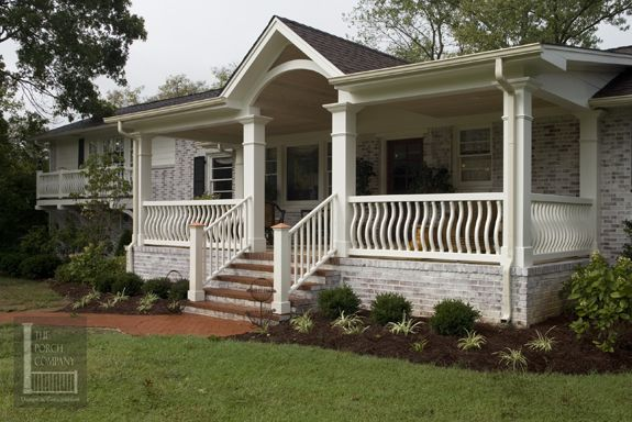 Porch Added And Brick Whitewashed To Boring Brick Ranch