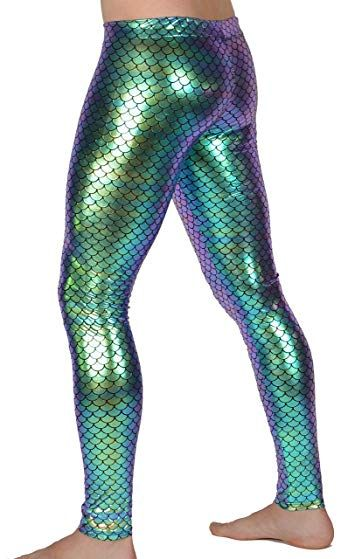 b7f01819ae0183 Revolver Fashion Mermaid Meggings USA Made Holographic Men's Leggings:  Festival Party Costume Review