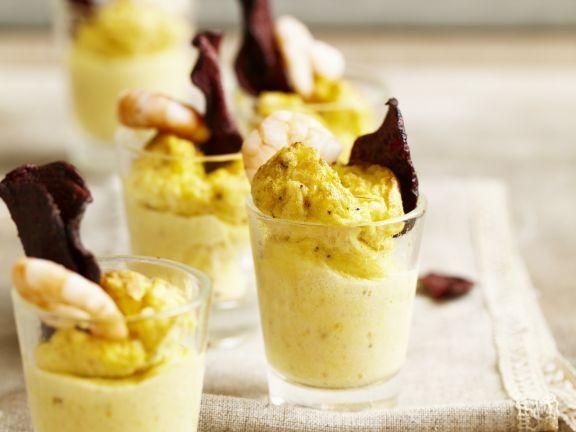 Pikanter Plan mit Shrimps und frittierten lila Kartoffeln ist ein Rezept mit frischen Zutaten aus der Kategorie Garnelen. Probieren Sie dieses und weitere Rezepte von EAT SMARTER!