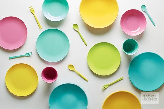 Colorful Plastic Dishes Print Decor  Food by Macrografiks on Etsy