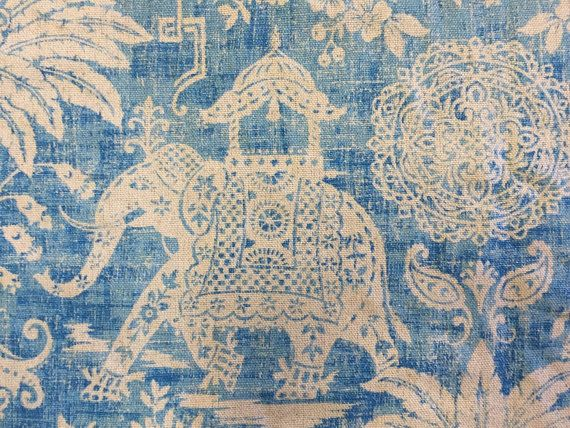 Moroccan Elephant - Ocean Blue - Elephant Fabric - Upholstery Fabric - Elephant Pillow Cover - Blue Elephant