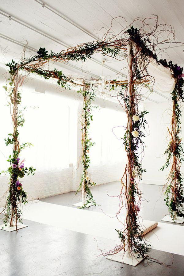 Rustic Twig Wedding Arbor, add some white flowy fabric! =)