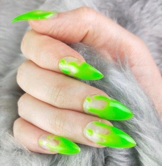 Green Slime Zombie Drip Press On Nail Press On Nails Fake Nails Custom Shapes And Sizes Halloween Green Nails Green Slime Nails In 2020 Green Nails Press On Nails Fake Nails