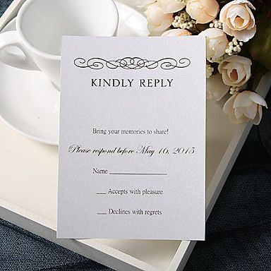 Personalize Wedding Response Cards - Formal Reply (Set of 50)