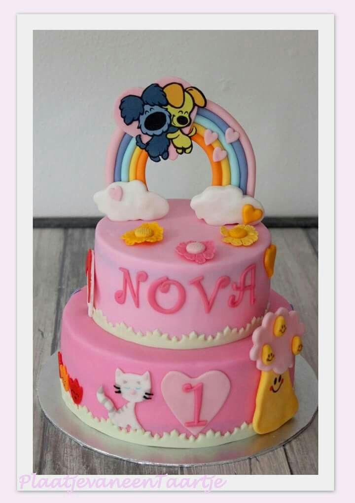 Woezel en pip regenboog taart