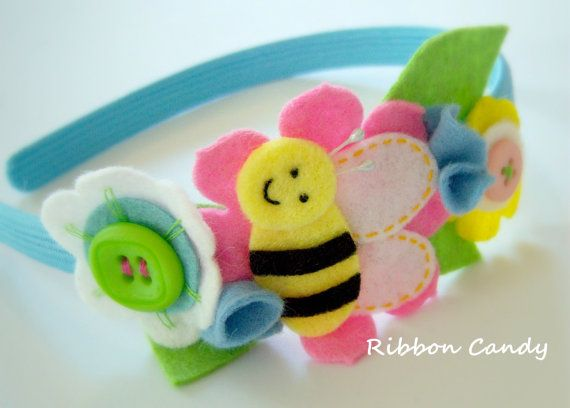 Bee Headband Felt Flowers and Leaves by ribboncandyhairbows, $13.95
