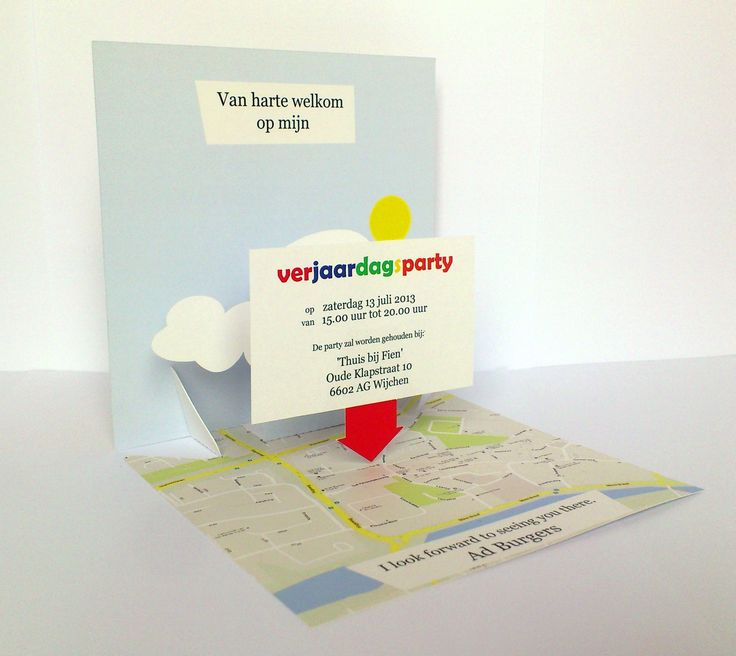 "Invitation card created for my father's 65th birthday party in The Netherlands in 2013.  Shows a map with a map ""pin"" hovering over, and pointing to, the actual address."
