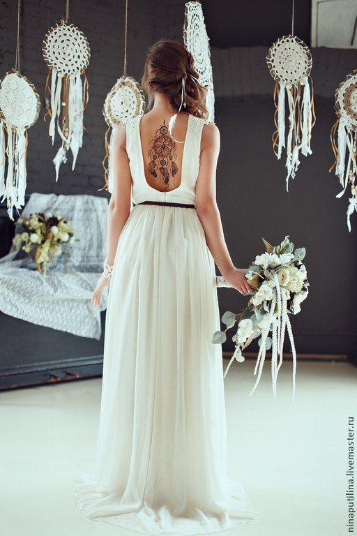 """Свадебное платье в стиле """"Бохо"""" - бежевый, свадебное платье, свадебное платье бохо"""