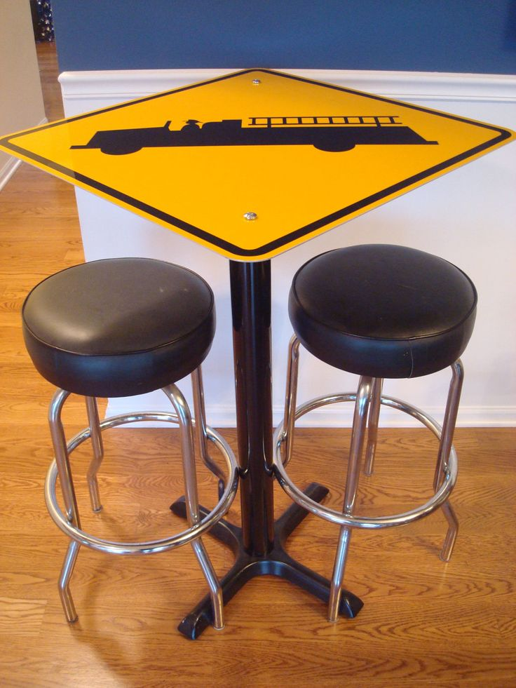 FIREMAN FIRE TRUCK PubTable Road Traffic Aluminum Sign Cafe Tables yellow reflective Firetruck.. $249.99, via Etsy.