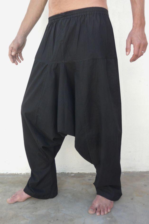 Haremshosen Herren, oder eingeschlechtig, in Einheitsgröße! Leichte Baumwoll-Leinwand, schwarz. Breite und komfortable Schnitt, für die Faulen, die  Müßiggänger, die Faulenzer, ... oder ihren...