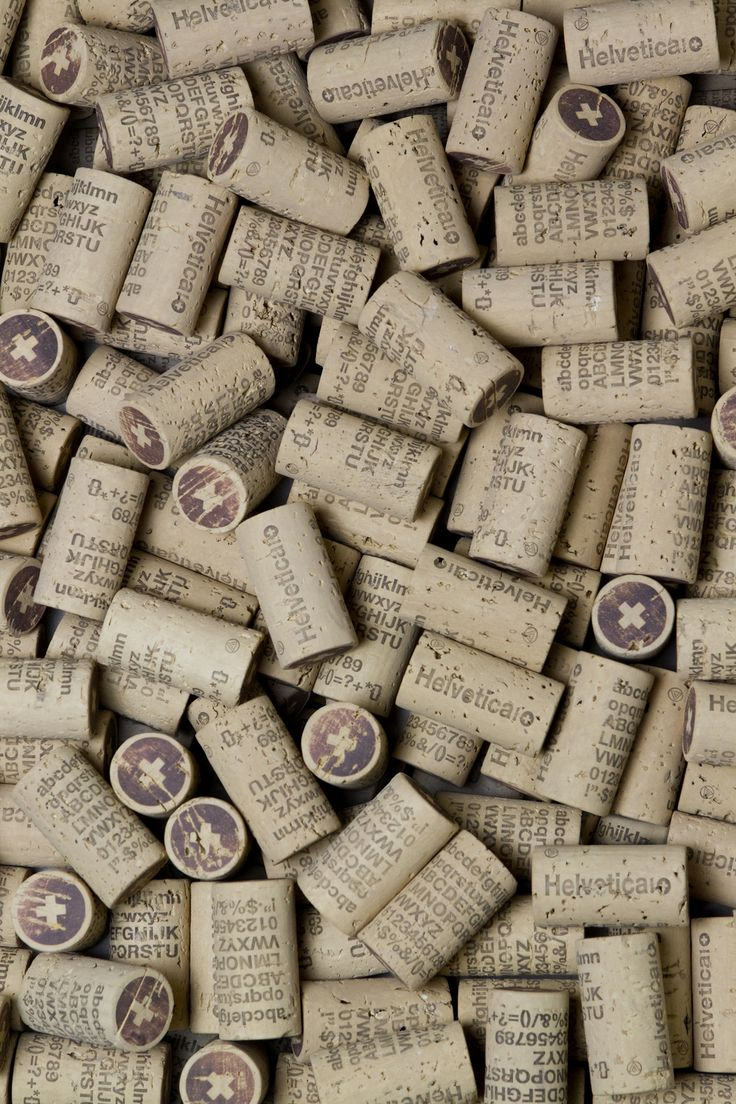 A collection of corks from Helvetica wine bottles.