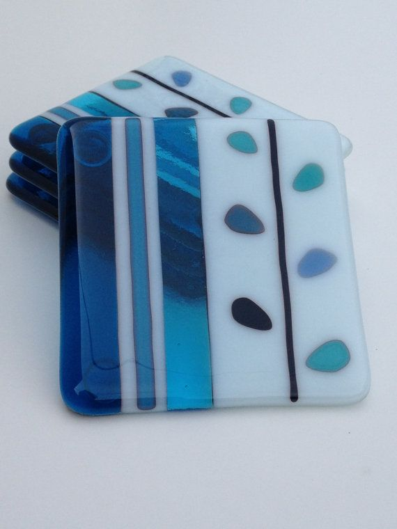 Fused Glass Coasters Blue Reaction by SmudgePotz on Etsy, $32.00