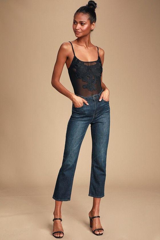 Lulus   Bernadine Black Sheer Mesh Embroidered Bodysuit   Size Large 2