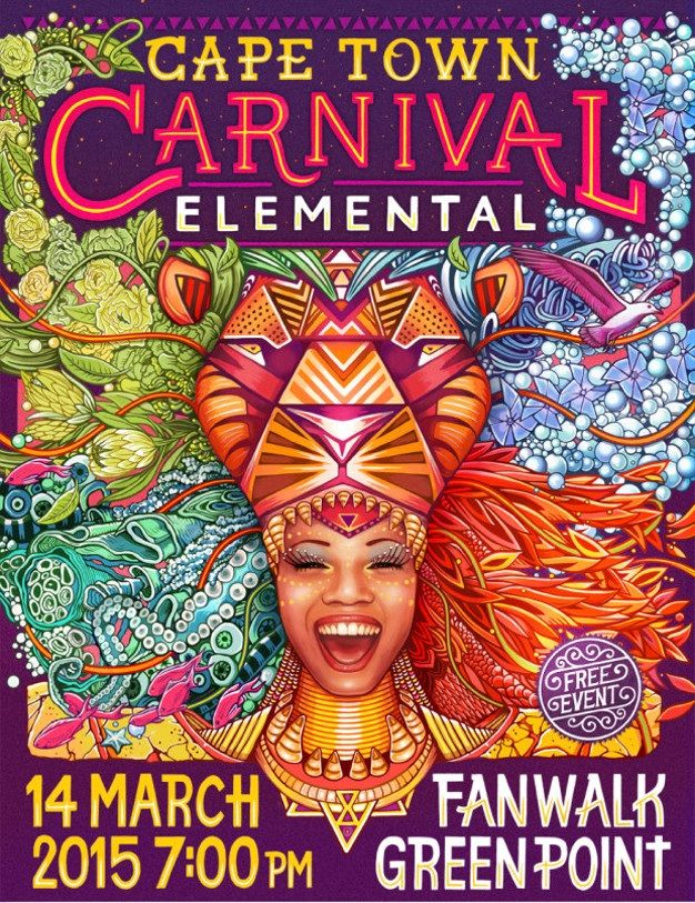 The Biggest Street Party in South Africa - celebrating and bringing together the fabulous Diaspora that is this City and beautiful Country.  Over 2000 performers will entertain Capetonians - along the Green Point ' Fan Walk' - fireworks, Giant Puppets, Floats - all related to the 4 elements - earth - water- wind - fire.  Today marks the 5th Annual Cape Town Carnival in Cape Town.  I shall be watching on television - don't do throngs and crowds :-)