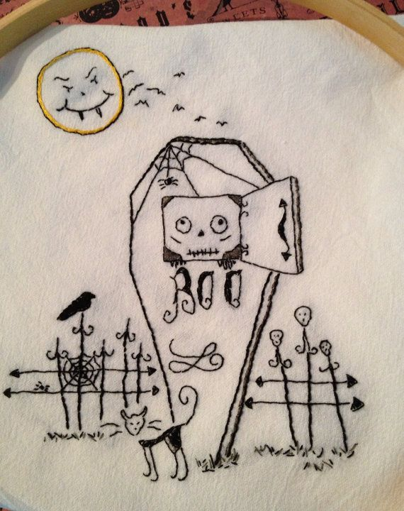 Instant Download PDF Embroidery Pattern Halloween Skeleton