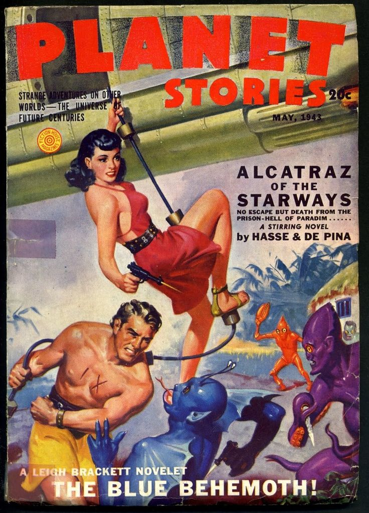 """""""You brought an icicle to a fistfight, tentacle man?  Eat hot rays!""""  Planet Stories magazine May 1943 pulp cover art, sci-fi fantasy woman dame spaceship gun raygun shooting man astronaut alien aliens BEM BEM's fight danger."""