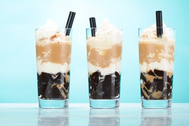 This sweet and refreshing drink features layers of chocolatey coffee slushie…