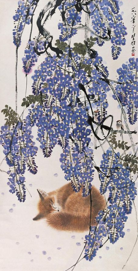 """Fox sleeping under wisteria ~ artist Fang Chuxiong; contemporary ink and color on paper, 53.15"""" x 27.36"""""""