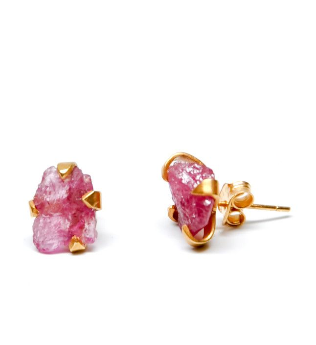 Raw Pink Tourmaline Earrings