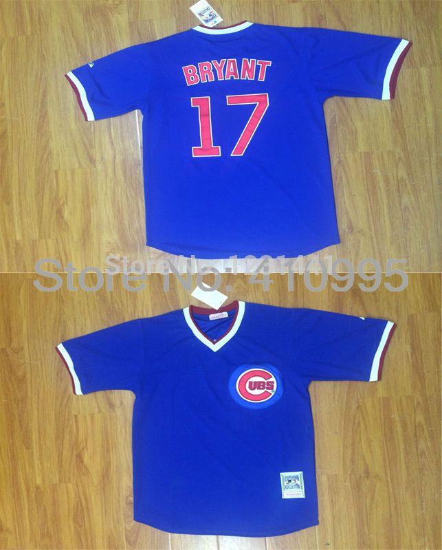 Купить товарЧикаго кабс кофта 17 крис брайант возврат белый синий вр бейсбол джерси дешевые в категории Майки спортивныена AliExpress.