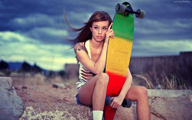 Dziewczyna, Tatuaż, Deskorolka, Skateboarding