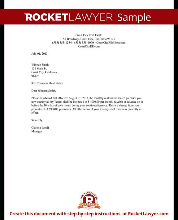 Sample Rent Increase Letter Form Tamplate Letter Regarding Rent Increase Letter Template