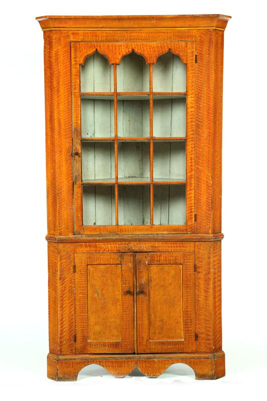 FINE DECORATED CORNER CUPBOARD. American, 1820 1840, Pine. Two Piece