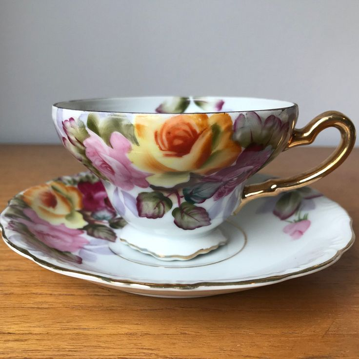 Princess Occupied Japan Tea Cup and Saucer, Hand Painted Rose Teacup and Saucer, Vintage Fine China Duo