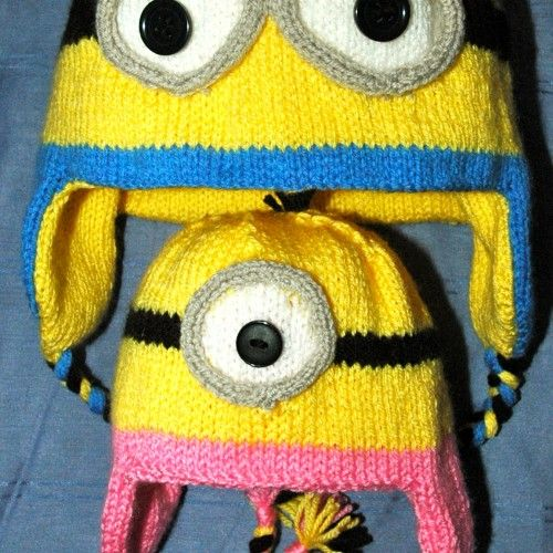 Minion Knit Hat Pattern Free : Hand knitted - Minion look alike Hat & Mitts knitting pattern Knits-r-u...