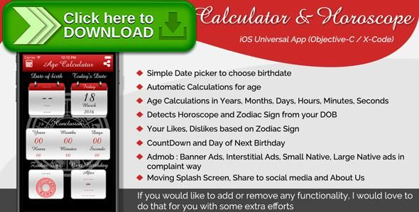 [ThemeForest]Free nulled download Age Calculator & Horoscope iOS Universal App (Objective-C / X-Code) from http://zippyfile.download/f.php?id=37865 Tags: ecommerce, accurate, age, Arithmetic, birthday, calculator, calendar, countdown, days, horoscope, months, next, old, year