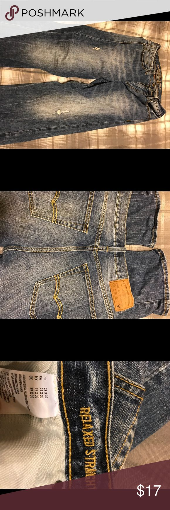 American Eagle men's 29x30 relaxed straight American Eagle men's relaxed straight jeans size 29x30. Factory distressed.  Smoke free home. American Eagle Outfitters Jeans Relaxed