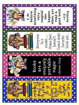 FREE! FAVORITE QUOTES BOOKMARKS - TeachersPayTeache...