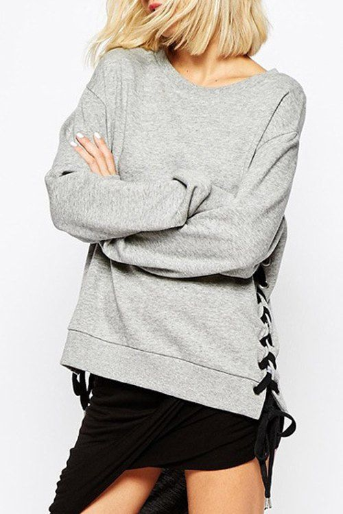Casual Round Neck Long Sleeve Lace-Up Loose-Fitting Women's Sweatshirt - GRAY 2XL
