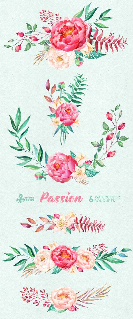 Passion 6 Watercolor Bouquets hand painted clipart peonies