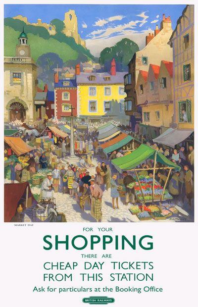 Vintage Market Day Shopping British Railways Travel Poster
