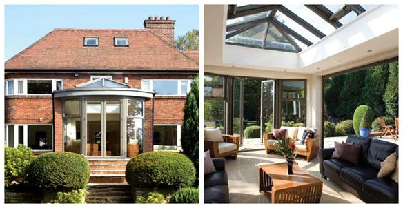 Traditional semi detached house with second living room extension.  Incorporates large roof light and bespoke folding doors.