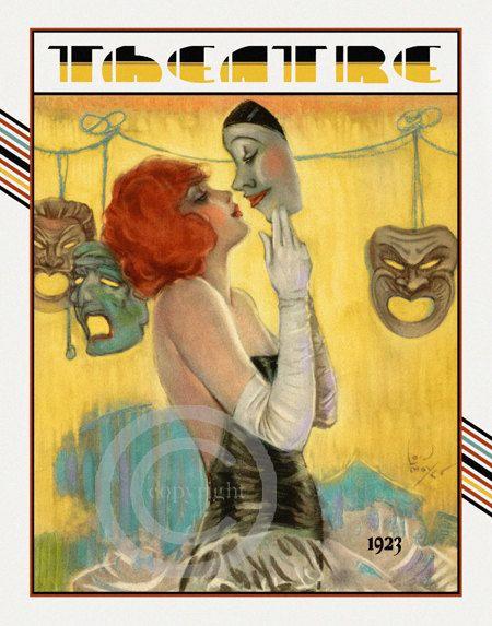 Whimsical Art Deco Theatre Print,  Redhead Dancer, kissing Pierrot Mask, Broadway Stage Arts,  Lou Mayer, 1923, Giclee Fine Art Print, 16x20