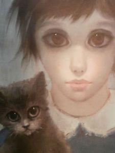 Keane Big Eyes Paintings 1961 | ... Margaret Keane 1961 Print of Big Eyed Waif Girl w/ Kitten ~SIGNED